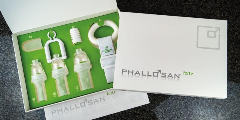 Verpackung, Anleitung & Einzelteile im Phallosan forte Test.